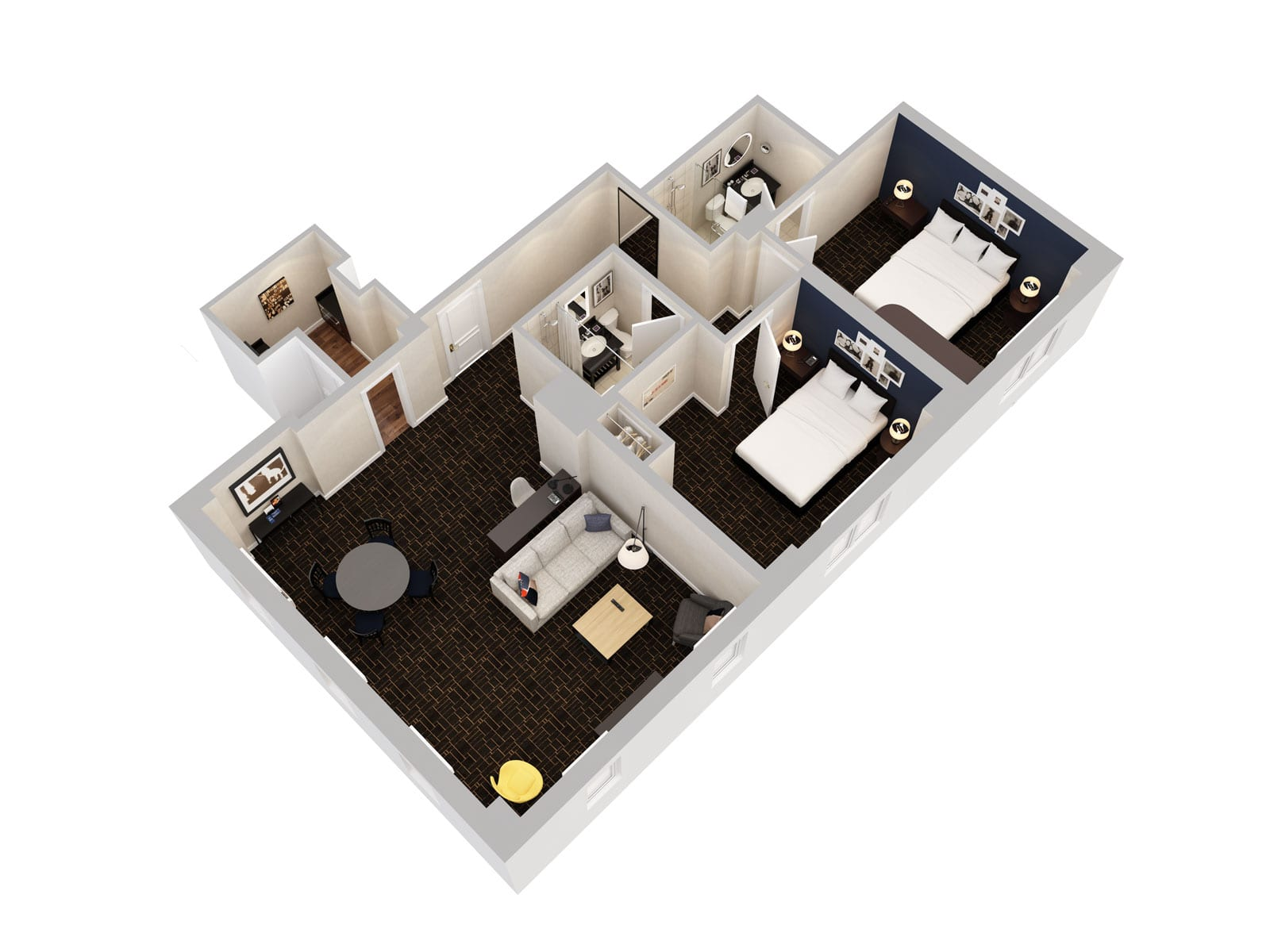 Shelburne Hotel & Suites 3-D Rendering Of Two Bedroom Apartment